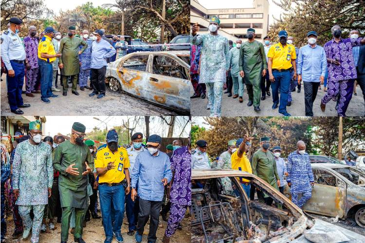 Governor Abiodun visits scene of OPIC Plaza fire outbreak