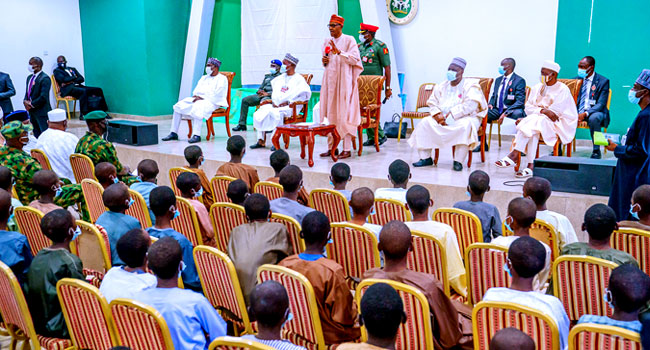 Please, Don't be Discourage President Muhammadu Buhari Admonished the rescued students of Government Science Secondary School in Kankara, Katsina State,