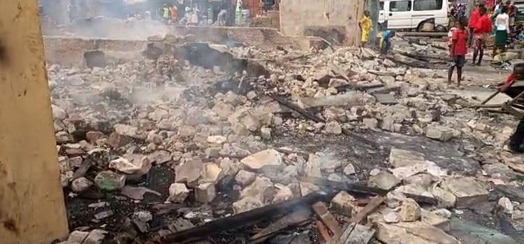 Fire outbreak in Bishop Okoye street in Port Harcout