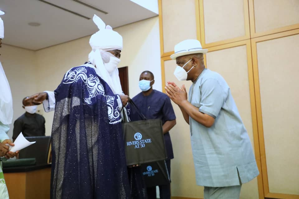 Emir Aminu Ado Bayero pay a visit to governor Wike, in Port Harcourt.