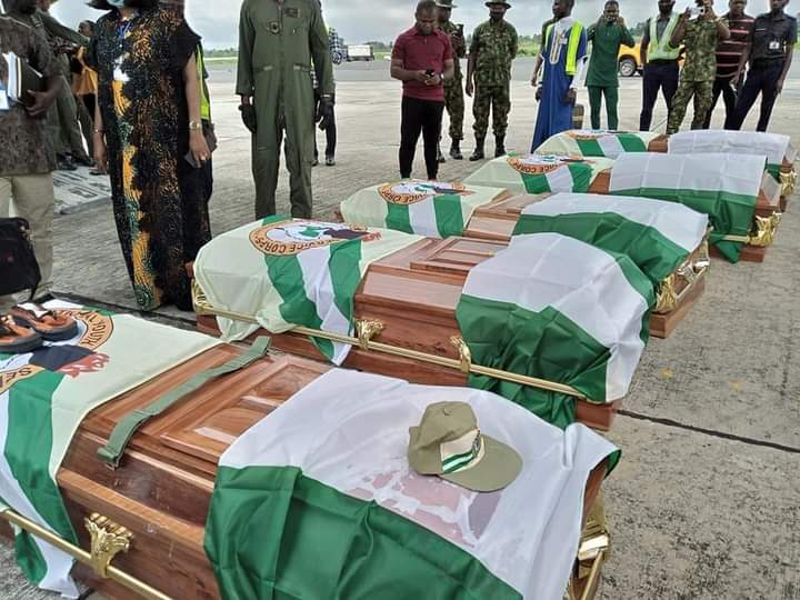 Military aircraft brings home bodies of corps members who died in road accident